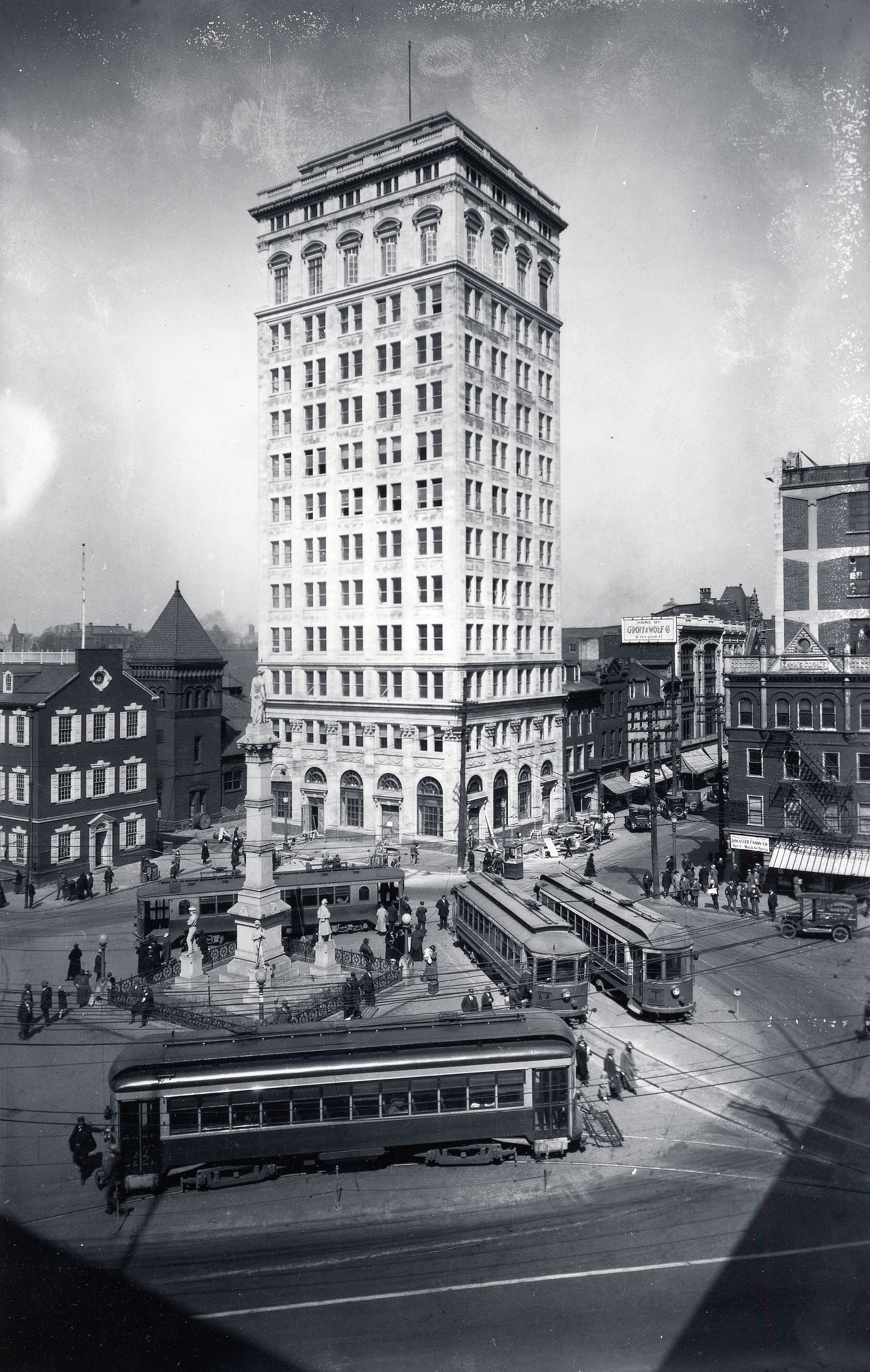 The cornerstone for Lancaster's Griest Building – the city's first skyscraper – was laid in 1924. Completed in 1925 and towering 14 stories over Penn Square, the building was designed by noted architect C. Emlen Urban and named for William Walton Griest, who served in the U.S. House of Representatives from 1909 to 1929.